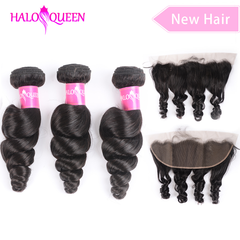 HALOQUEEN Hair Brazilian Hair Loose Weave Bundles With Frontal Non-Remy Human Hair 3 Bundle With Closure With Frontal Loose Wave