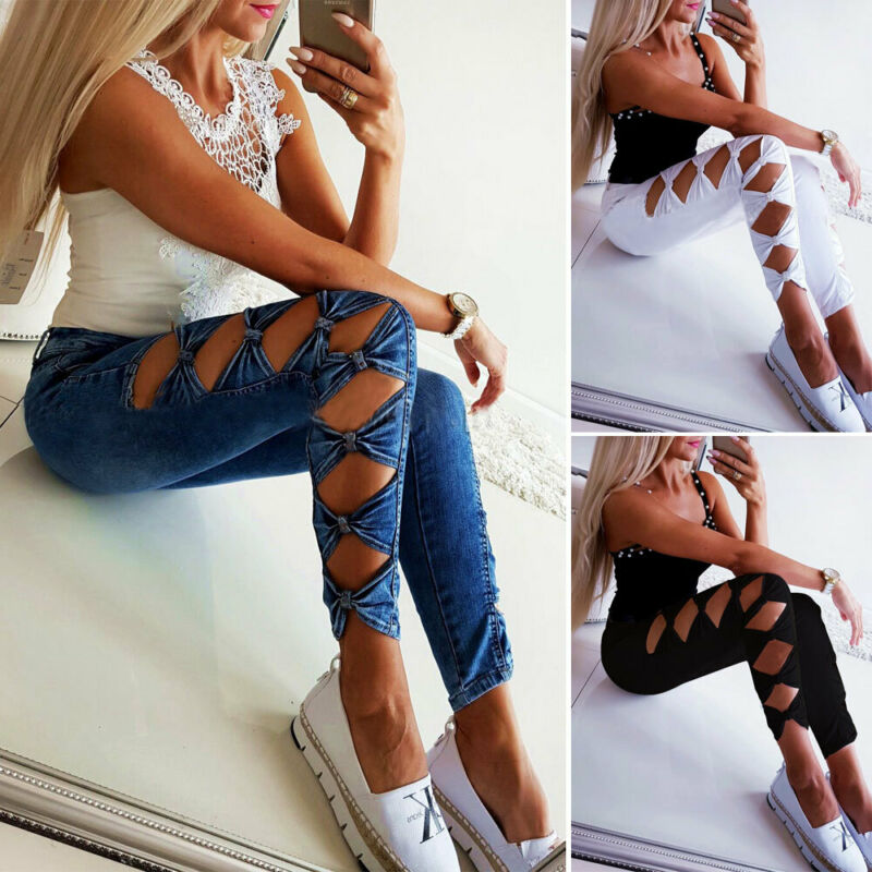 Women Denim Slim Cotton Skinny Girls Ripped Lady Long Pants High Waist Stretch Holes Bottom Hollow Out Jeans Pencil Trousers New
