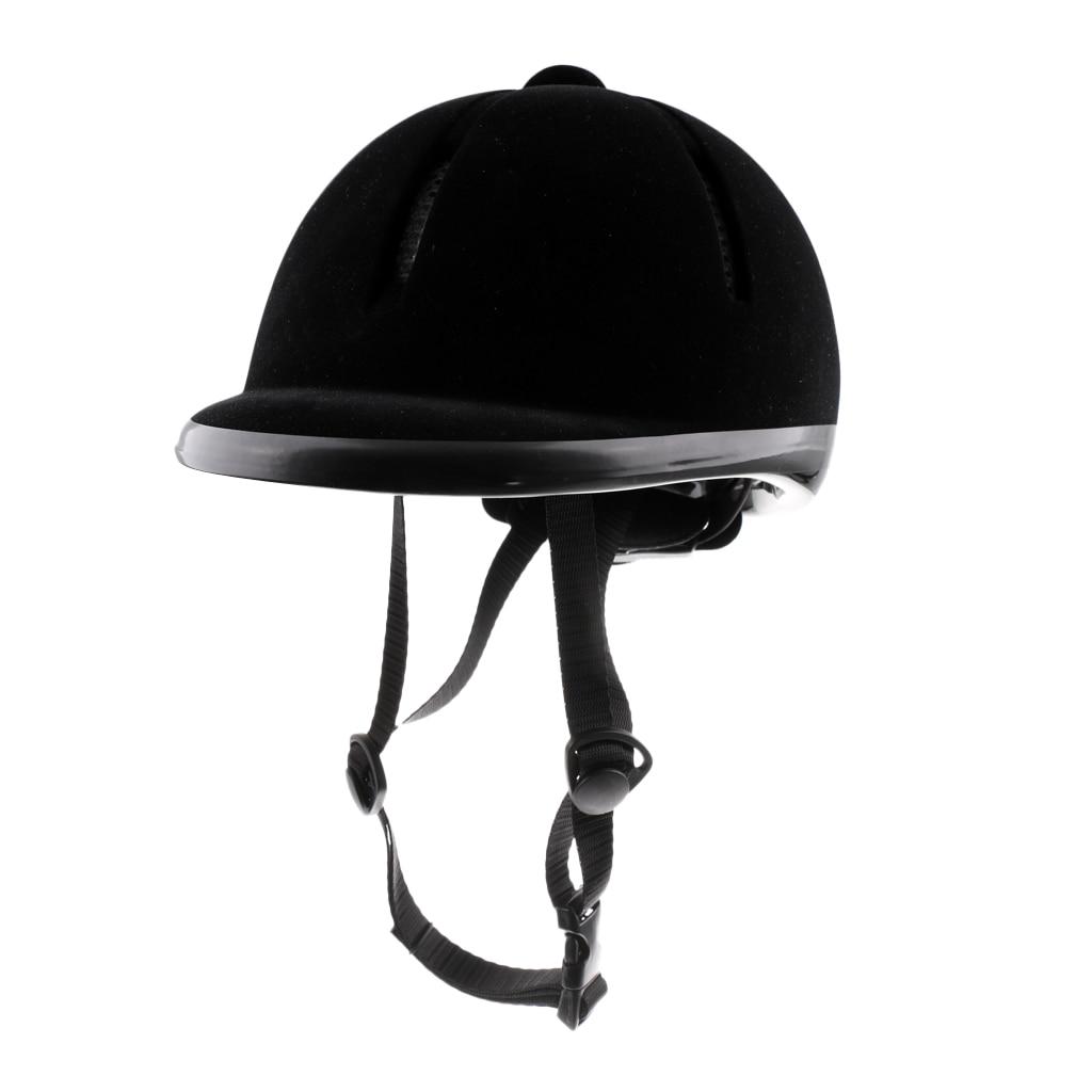 Kid Equestrian Adjustable Horse Riding Hat Ventilated Velvet Helmet 48-54cm