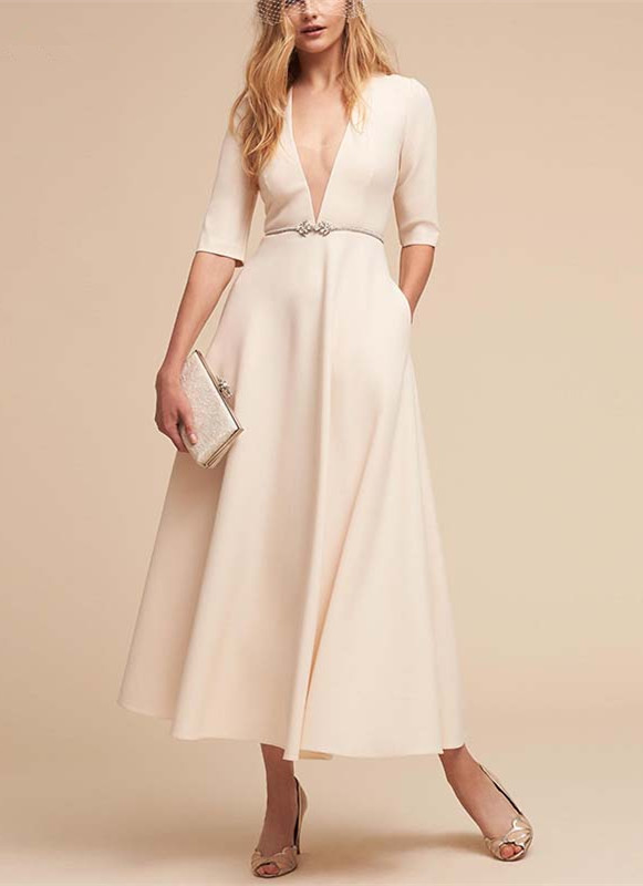 2019 Deep V Neck Beach Wedding Dresses Half Sleeves Ankle-Length Bridal Gowns With Sashes Robe De Mariee