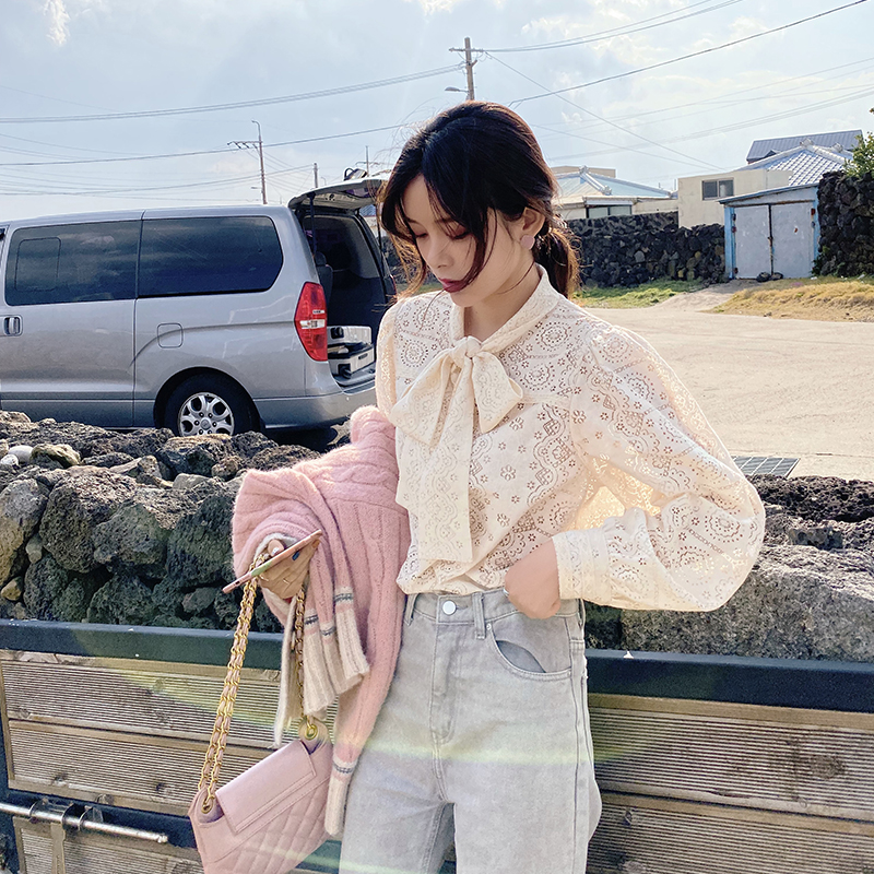 MISHOW Women Spring Summer Bow Neck Lace Blouse Causal Loose Hollow Sweety Lace Shirt Tops MX19D4105