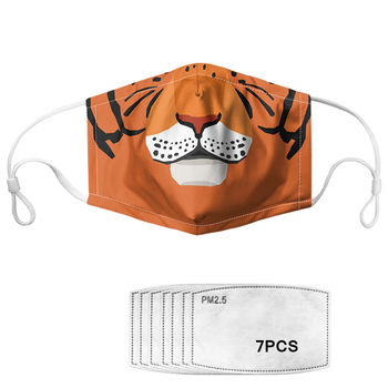 Tiger Lion Head/Mouth Print Pattern Face Mouth Masks With 7pcs PM2.5 Anti Air Dust Mask For Women Mascherine Alice In Wonderland