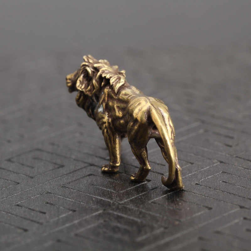 Anitique Perunggu Megah Lion King Miniatur Meja Dekorasi Vintage Kuningan Mini Patung Dekorasi Rumah Ornamen Figurines
