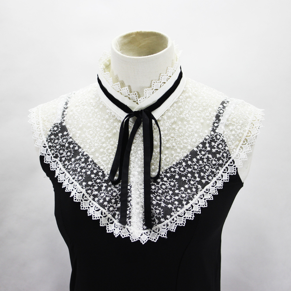 Stars Embroidery Screen Cloth Dickie Pleats Lead Camisole Decoration Fake Collar Detachable New Free Shipping Shirt Women