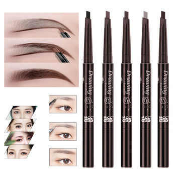 New 5-Color Double-Headed Eyebrow Pencil Natural Waterproof Rotating Automatic Triangle Eyebrow Pencil With Brush Beauty Tools