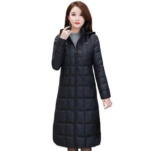 Image 2 - 2020 yeni kışlık ceketler kadın artı boyutu 4XL rahat kapşonlu sıcak pamuk yastıklı ceket kadın uzun şişme ceket kadınlar Parkas kabanlar