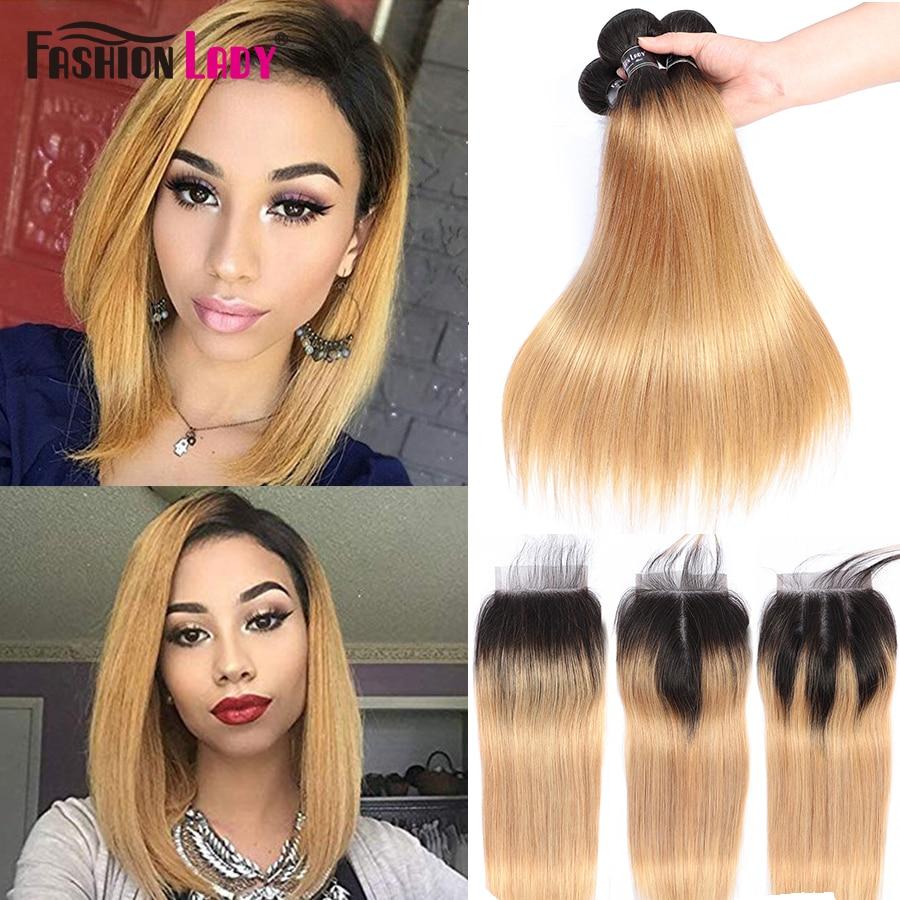 Moda senhora ombre loira cabelo brasileiro 3 pacotes com fechamento pré-colorido 1b/27 tecer em linha reta feixes de cabelo humano não remy