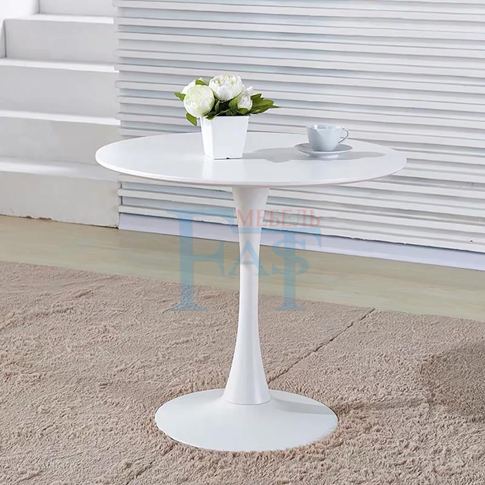 Table à manger ensemble peinture blanche table sur socle métallique table de cuisine table ronde table moderne livraison gratuite pour la russie - 3