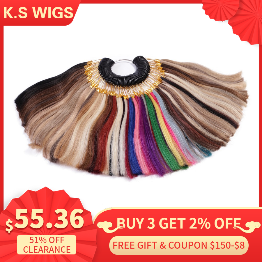 K.S Wigs 100% Human Hair Color Rings/ Color Charts 85 Colors Available Can Be Dyed For Salon Sample Free Shipping