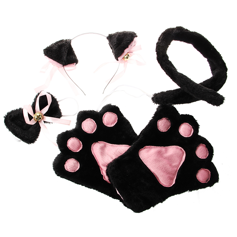 Black Pink Cat Cosplay Set Paw Claw Gloves Ear Hairclip Tail Bow Tie Costume