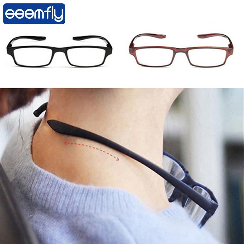 seemfly Ultralight Hanging Stretch Reading Glasses Men Women Anti-fatigue HD Presbyopia eyeglasses Diopter +1.0 1.5 2.0 3.0 4.0