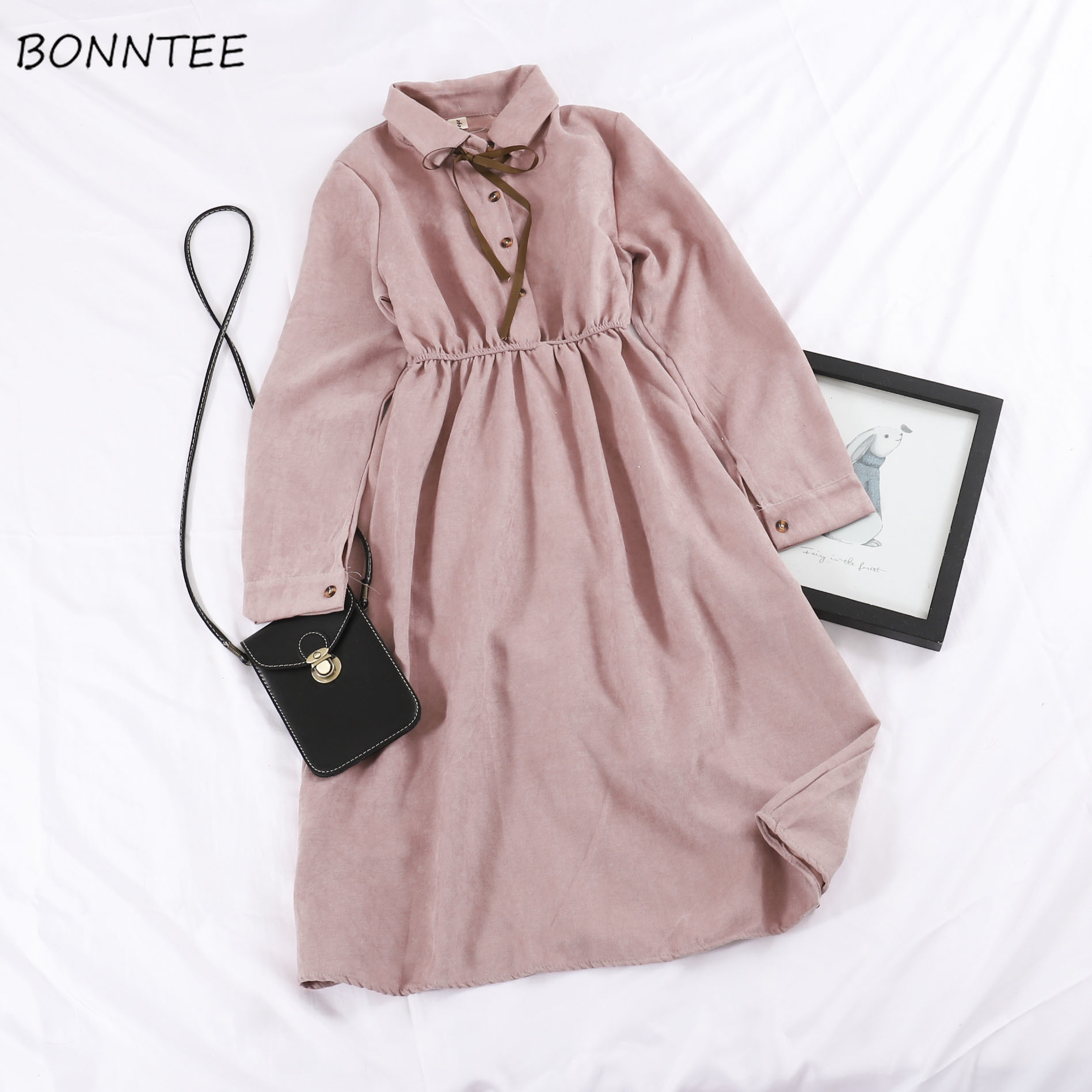 Long Sleeve Dress Women Solid Bow Buttons Elegant Sweet Girls Womens Clothing Korean Style Harajuku All-match Student Streetwear