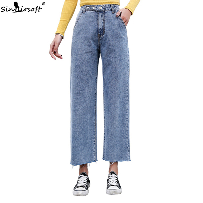 High Waist Wide Leg Jeans Women Ankle-length Loose Vintage Boyfriend Pants Korean Fashion Women Denim Blue Jeans Plus Size 2XL