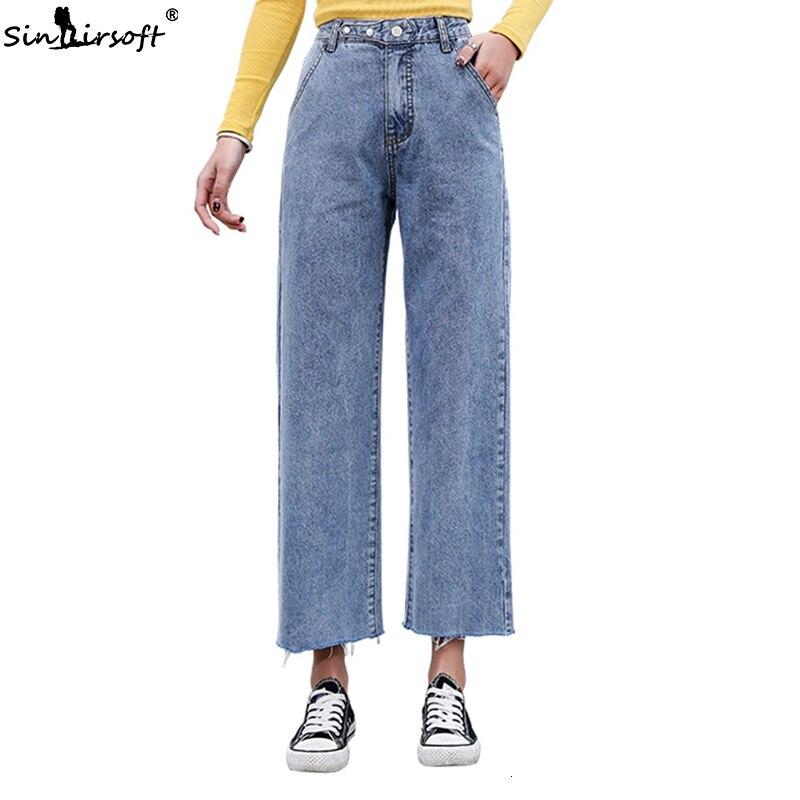 High Waist   Wide     Leg   Jeans Women Ankle-length Loose Vintage Boyfriend   Pants   Korean Fashion Women Denim Blue Jeans Plus Size 2XL