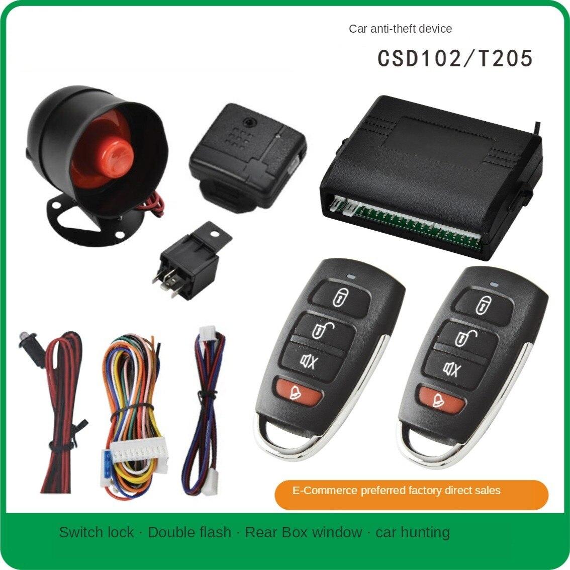Car Alarm Vehicle System 1-Way Universal Protection Security System Keyless Entry Siren + 2 Remote Control Burglar