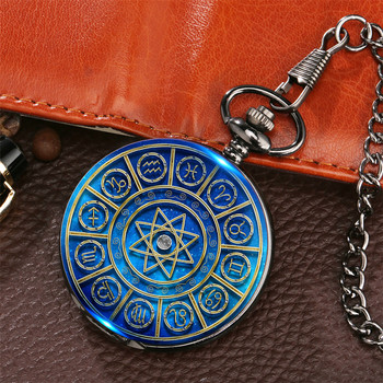 Starry Blue 12 Constellations Theme Printing Pocket Watch Retro Black Pendant Fob Chain Gifts Kids Men Women - discount item  31% OFF Pocket & Fob Watches