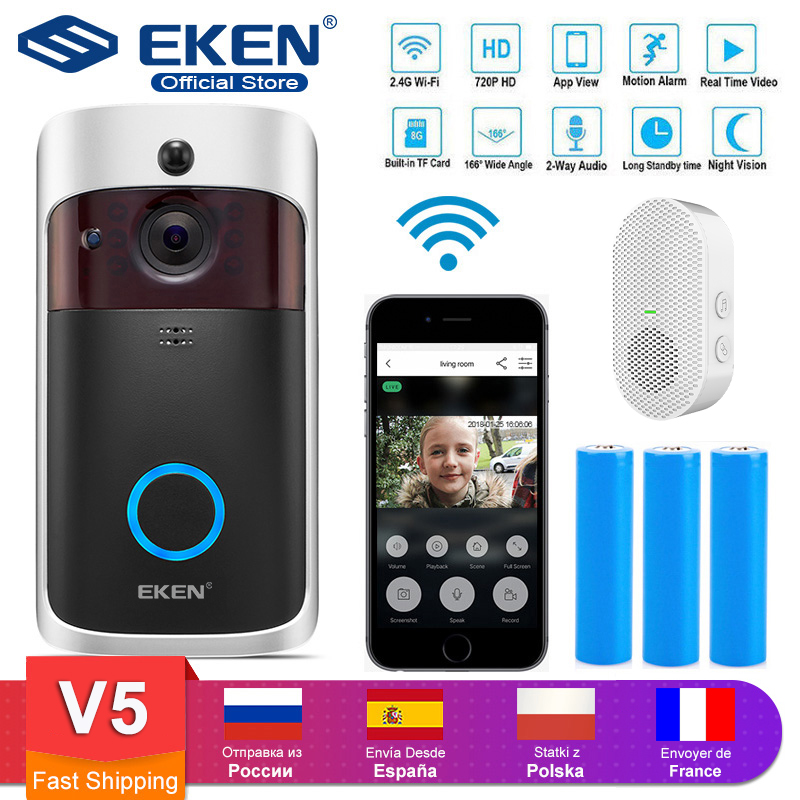 EKEN Doorbell Camera Video Intercom Phone-Door Ir-Alarm Smart Wireless IP V5