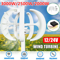 3000W/2500W/2000W Wind Turbines Generator+Controller 12V24V 5 Blades Lantern Motor Kit Vertical Axises For Home Streetlight