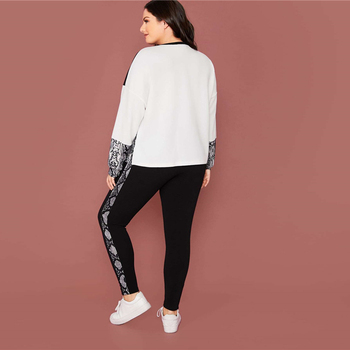 Plus Size Snakeskin Color Block Pullover and Leggings