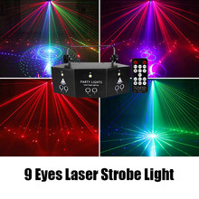 9 Eyes RGB Disco Laser luce stroboscopica DMX512 telecomando Dj Led Lazer nebbia macchina illuminazione scenica matrimonio notte KTV Club