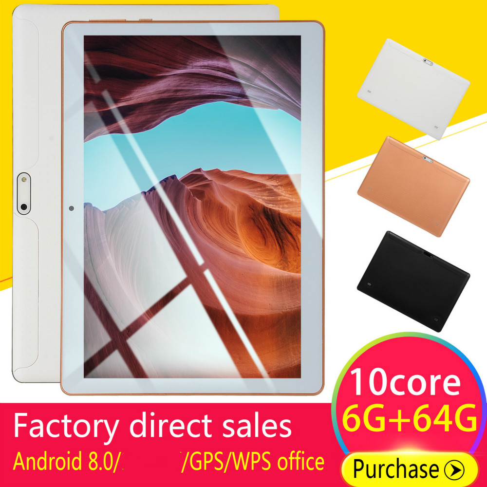 10 Inch Android 8.0 RAM 6GB ROM 128G Android Tablet With Dual Card Dual Camera 4G Call Phone Bluetooth WiFi Kids Tablet
