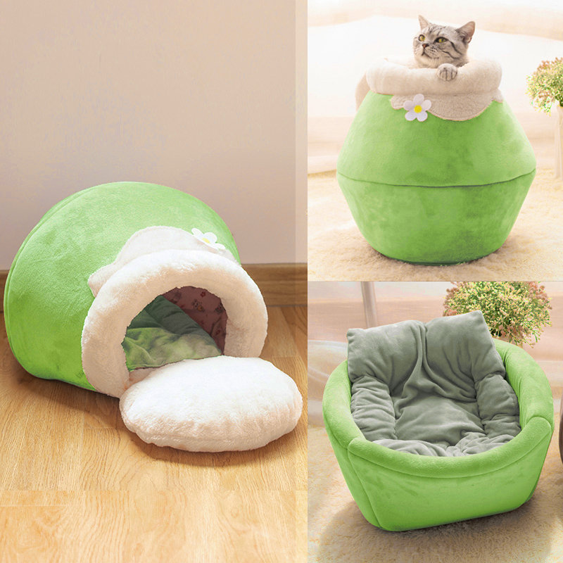 Winter Warm Cat Bed Plush Soft Portable Foldable Round Cute Cat House Cave Sleeping Bag Cushion Pet Bed Kittens Products Toy