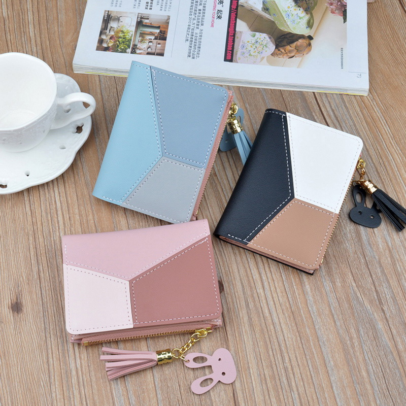 WENYUJH Wallet Short Women Wallets Zipper Purse Patchwork Fashion Panelled Wallets Trendy Coin Purse Card Holder Leather New