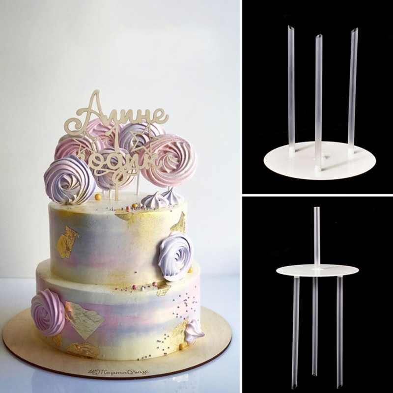 Multi-Lapisan Kue Bingkai Dukungan Praktis Kue Berdiri Bulat Makanan Penutup Penopang Spacer Menumpuk Bracket Dapur Kue DIY Alat
