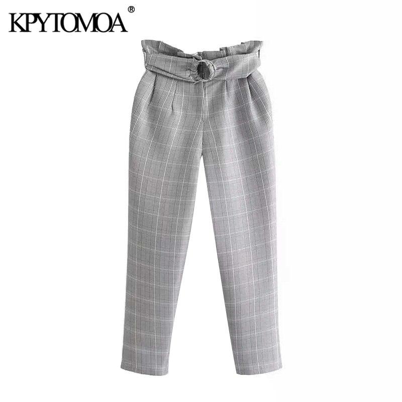 Vintage Elegant Office Wear With Belt Plaid Pants Women 2020 Fashion Zipper Fly  Pockets Female Ankle Trousers Pantalones Mujer