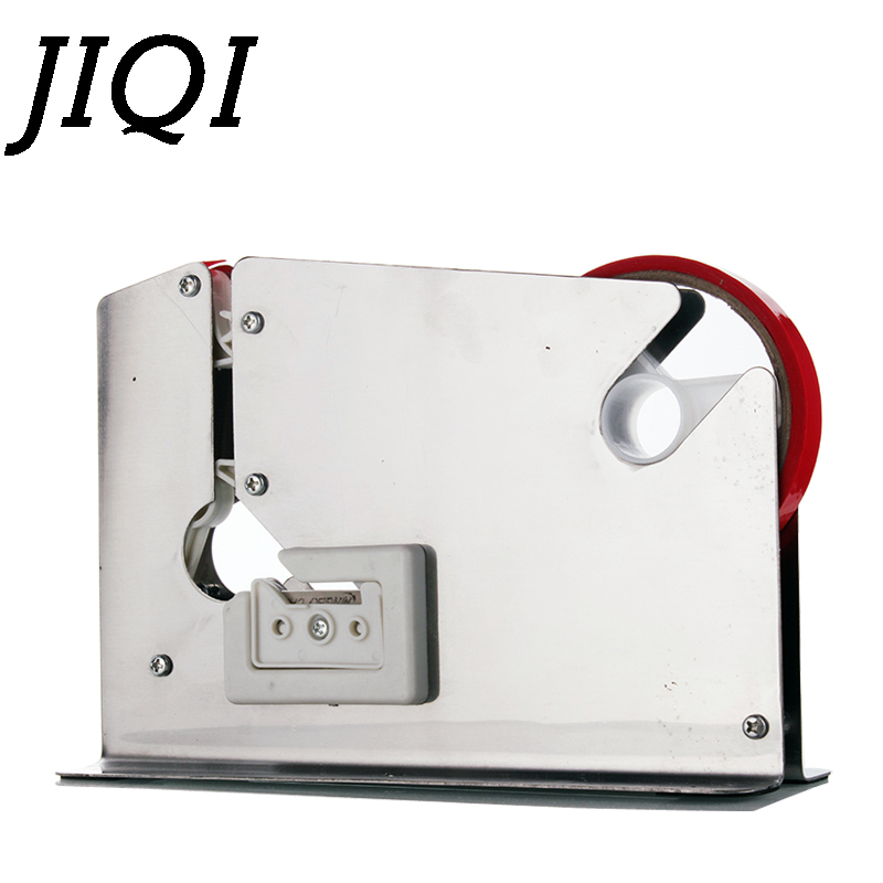 JIQI Stainless Steel Tape Cutter Dispenser Supermarket Plastic Bag Sealing Machine Food Packing Sealer Mini Fruit Stapler Packer