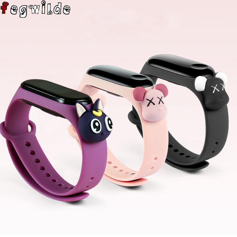 Cartoon strap for <font><b>xiaomi</b></font> <font><b>mi</b></font> <font><b>band</b></font> 4 <font><b>3</b></font> 5 bracelet replacement silicone wrist belt watchband <font><b>pulsera</b></font> for <font><b>xiaomi</b></font> <font><b>mi</b></font> band5 4 <font><b>3</b></font> strap image