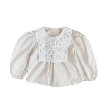 Meninas blusa camisas brancas camisa de renda de algodão 2020 primavera manga longa o-pescoço criança crianças bebê criança topos 1-6 ano