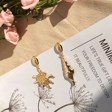 Natural Shell Drop Earrings Gold Geometric For Women Bohemian Sea Ocean Style Jewelry gift