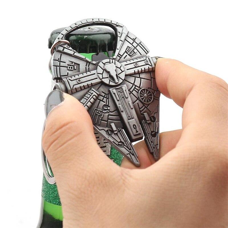 Movie Star War Millennium Falcon Key Chain Cosplay Badge Bottle Opener Fashion Fancy Funny Souvenir Gift Spaceship Key Ring