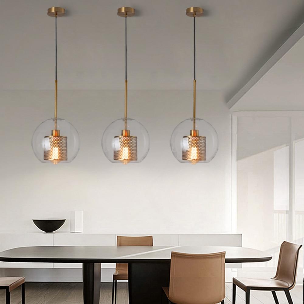 cheapest Loft Modern Pendant Light Glass Ball Hanging Lamp Kitchen Light Fixture Dining Hanglamp  Living Room Luminaire