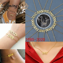 QIMING 1985 To 2014 Number Date Of Birth Custom Jewelry Year 1986 1987 1988 1999 2000 Year Necklace Birthday Gift bracelet year of our birth