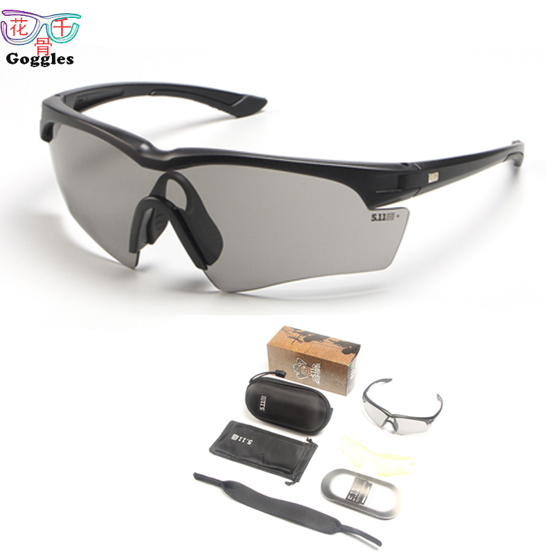 Wholesale 511 Tactical Glasses Three Pieces Set Army Fans Glasses Changeable PCs Bulletproof Glasses Outdoor Wind-proof Glasses