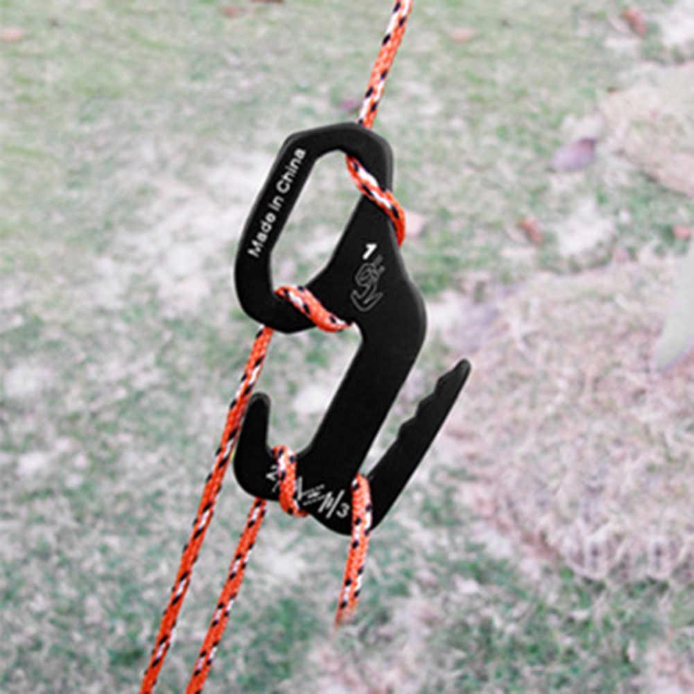 2 قطعة 9-شكل سبائك الألومنيوم التخييم التنزه سريعة عقدة خيمة الرياح حبل المشدود هوك الرياح حبل مشبك سدادة حبل أداة