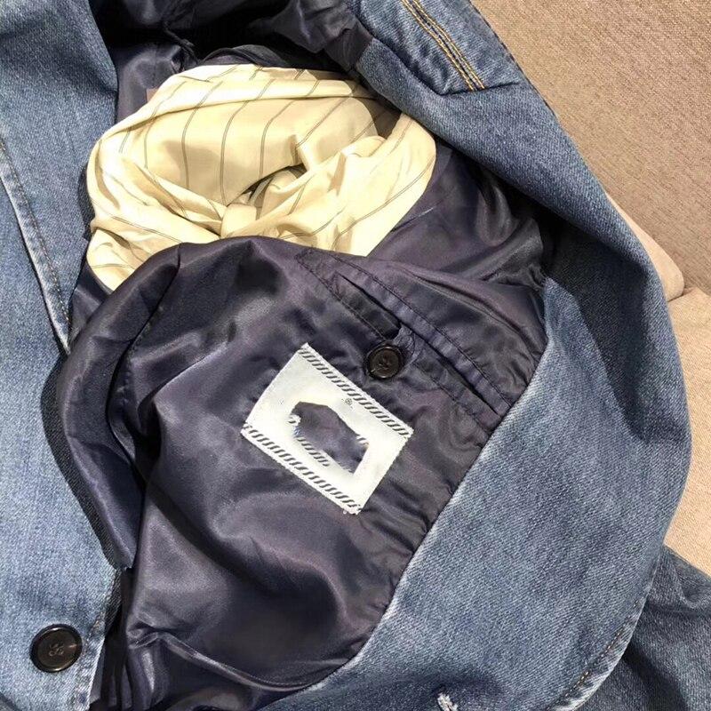 Solido Giubbotti jeans Cappotto Manica Lunga da Donna Vintage Giacca di Jeans Autunno Del Cappotto Del denim Jean - 4
