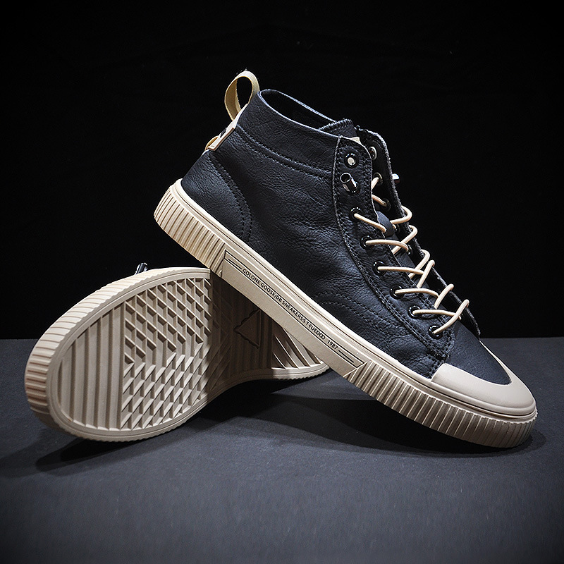 2020 New Hight top Men Vulcanize Boots Breathable Comfortable Anti slip Soft Sole Shoes Spring Autumn