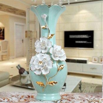 European Emboss Flower Table Flower Receptacle Ceramics Flower Vase Art Sculpture Home Office Decoration Ornaments R2711