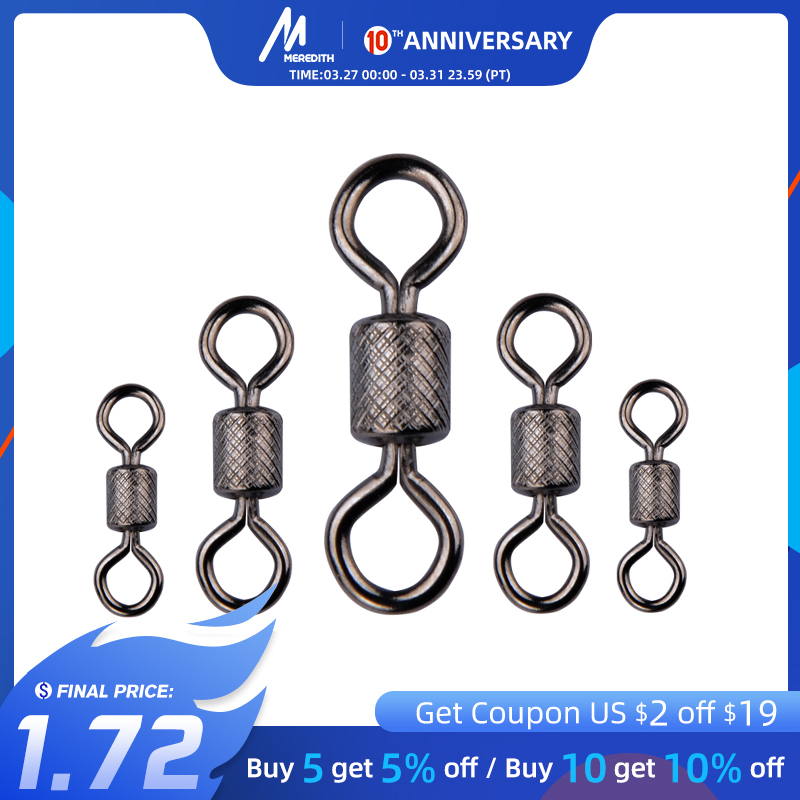 Meredith 50PCS/Lot Fishing Swivels Ball Bearing Swivel With Safety Snap Solid Rings Rolling Swivel For Carp Fishing Accessories