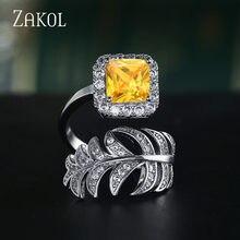 ZAKOL – bague de luxe pour femme, Micro carré, en Zircon, pavé, feuille, bijoux de fête de mariage, mode printemps, FSRP2032