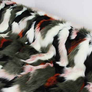 160*100cm colorful jacquard lining fluffy fourrure artificial plush faux fur fabric for coat case vest fausse fourrure tissu фото
