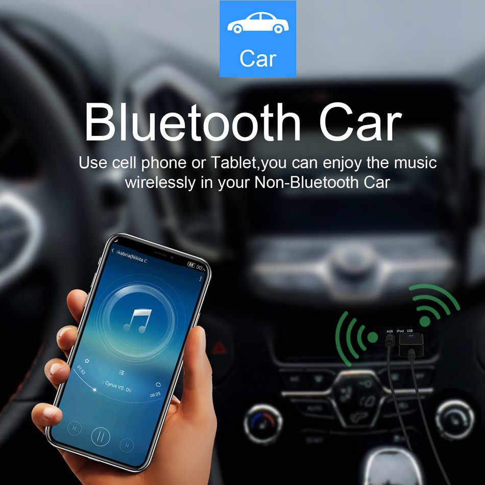 CALETOP Bluetooth 5.0 nadajnik-odbiornik 3.5mm adapter bezprzewodowy AUX Audio nadajniki do głośników telewizyjnych zestaw samochodowy TV