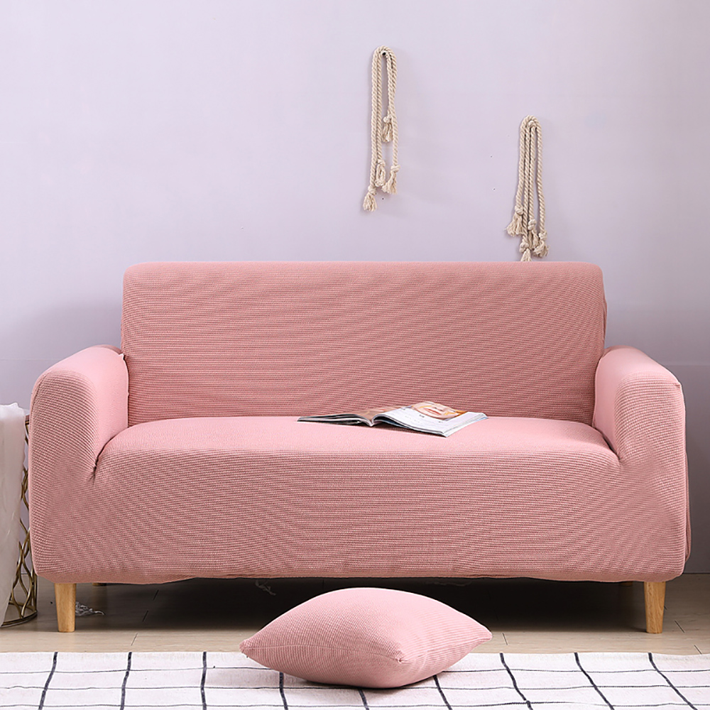 l shaped sofa cover pink sweet fashionable durable washable flexible stretch decorative sofa bed cover solid color