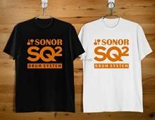 SONOR – système de tambour SQ2 outils de musique, LOGO, chemise noire et blanche, taille américaine, ZM1