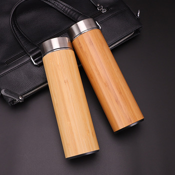 1PCS Creative 500ml Bamboo Wood Thermos Cup 304 Stainless Steel Morning Water Bottles Wood Grain Bamboo Car Gift Cup 3