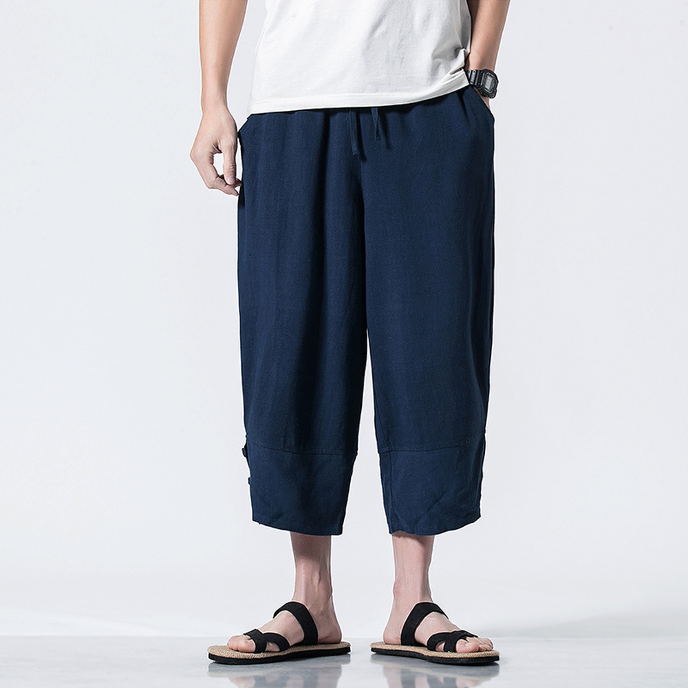 Traditional Chinese Style Pants Men Spring Summer Fashion Elastic Waist Solid Color Harem Pants Large Size M-5XL