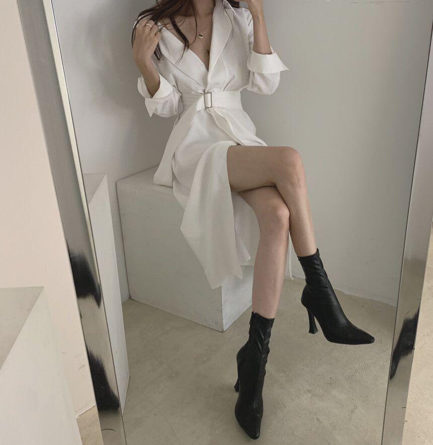 Women Fall Elegant V Neck Solid Bandage Bodycon Long Shirt Dress Female Solid Plus Size Vestido Long Sleeve Robe Femme Clothes